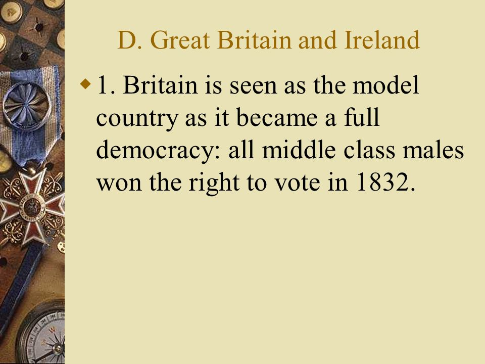 D.Great Britain and Ireland 1.