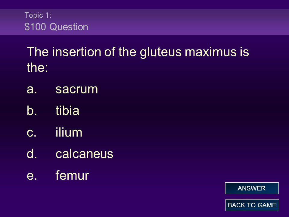 Topic 1: $100 Question The insertion of the gluteus maximus is the: a.sacrum b.tibia c.ilium d.calcaneus e.femur BACK TO GAME ANSWER