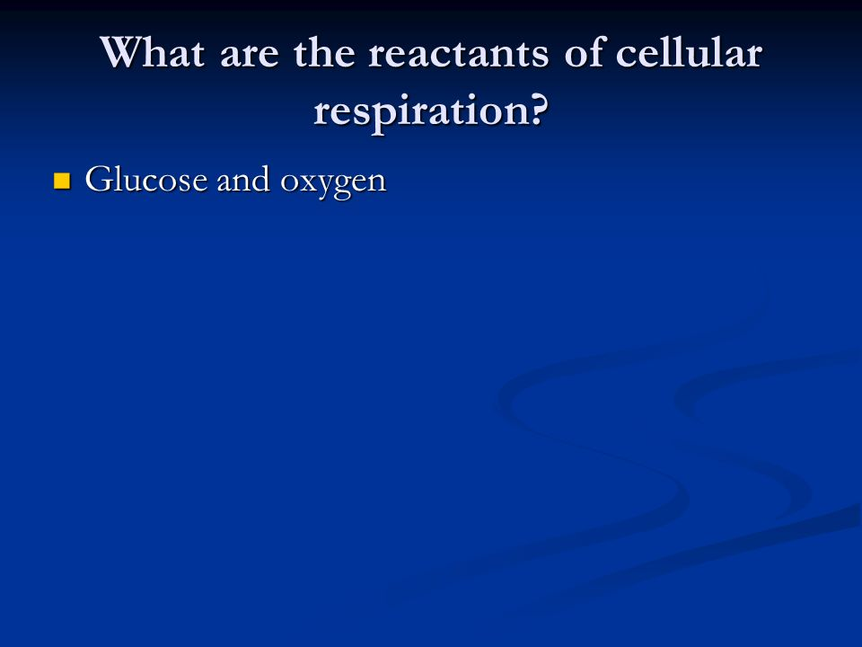 What are the reactants of cellular respiration Glucose and oxygen Glucose and oxygen