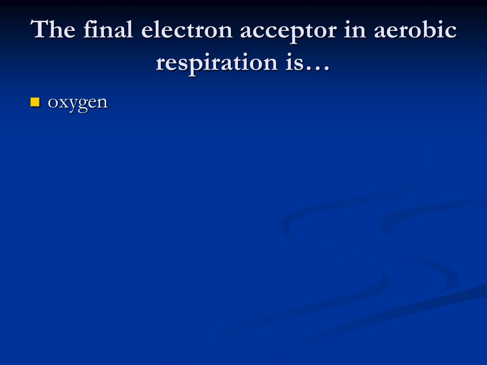 The final electron acceptor in aerobic respiration is… oxygen oxygen