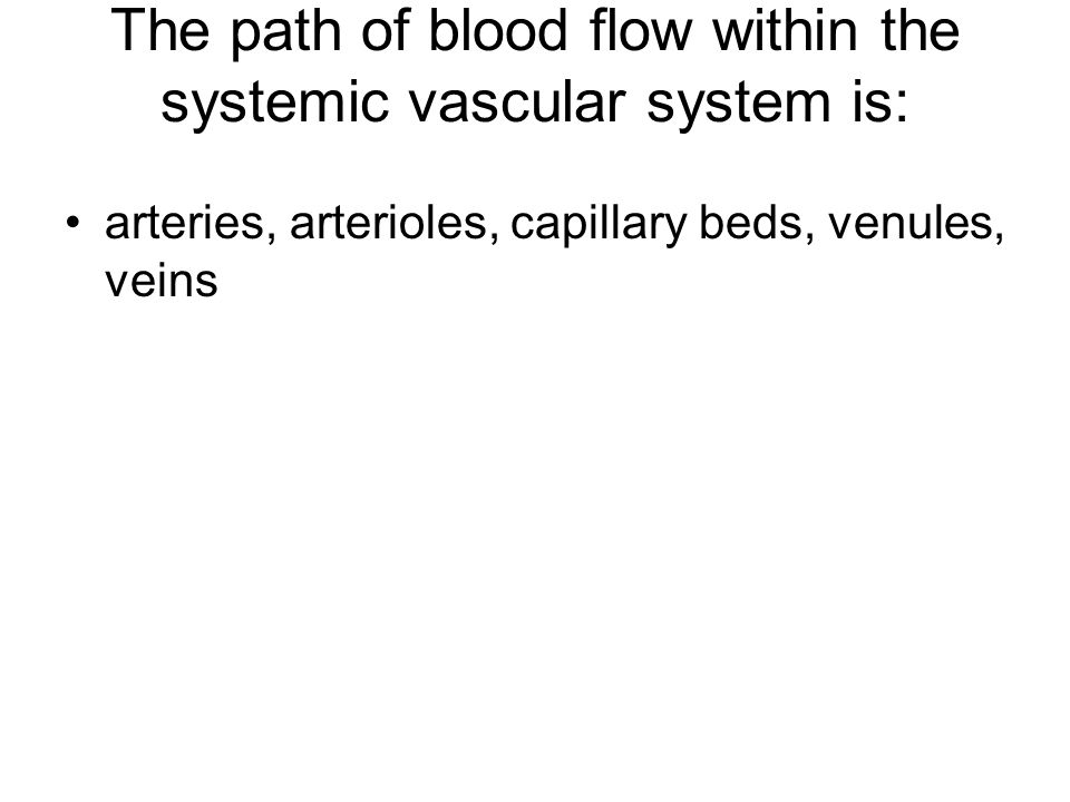 The path of blood flow within the systemic vascular system is: arteries, arterioles, capillary beds, venules, veins