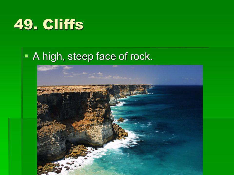 49. Cliffs A high, steep face of rock. A high, steep face of rock.