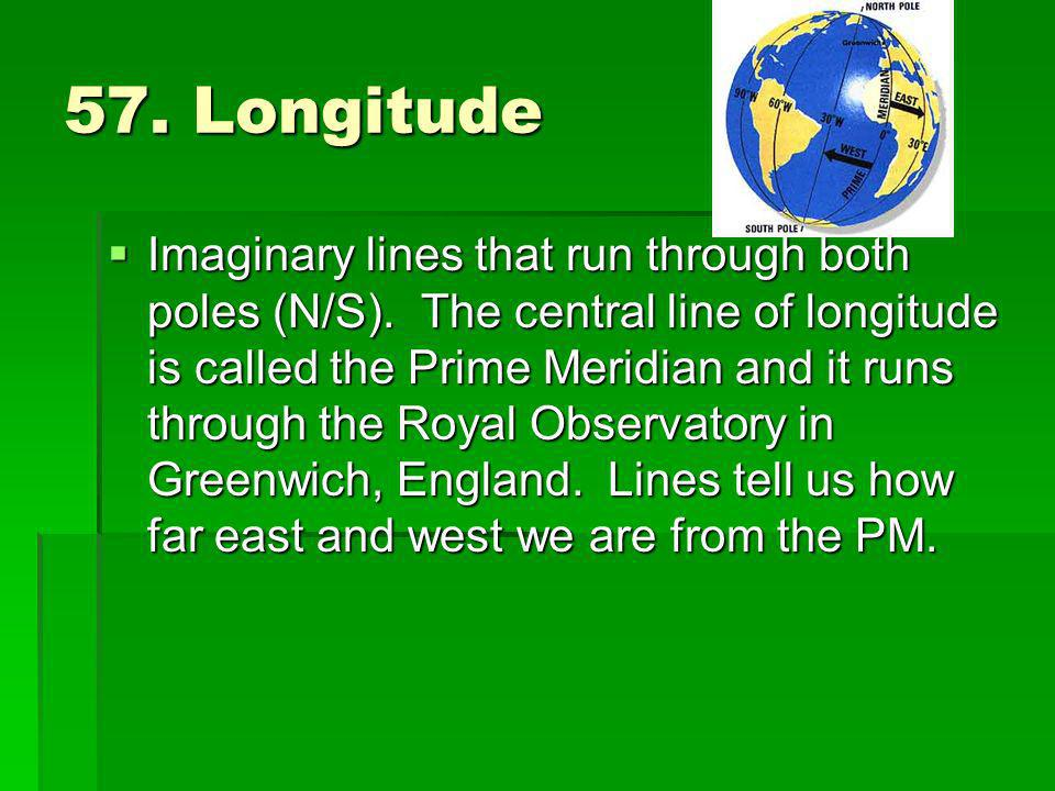 57. Longitude Imaginary lines that run through both poles (N/S). The central line of longitude is called the Prime Meridian and it runs through the Ro