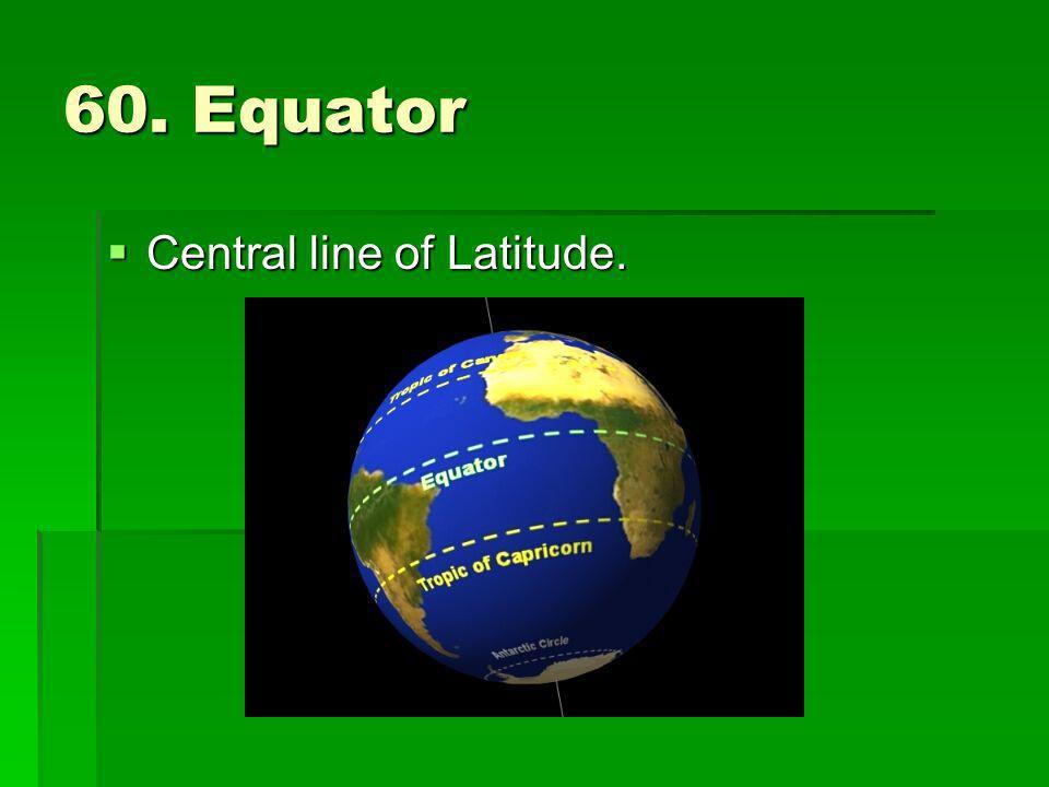 60. Equator Central line of Latitude. Central line of Latitude.