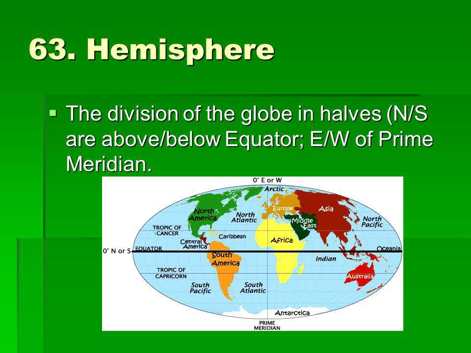 63. Hemisphere The division of the globe in halves (N/S are above/below Equator; E/W of Prime Meridian. The division of the globe in halves (N/S are a
