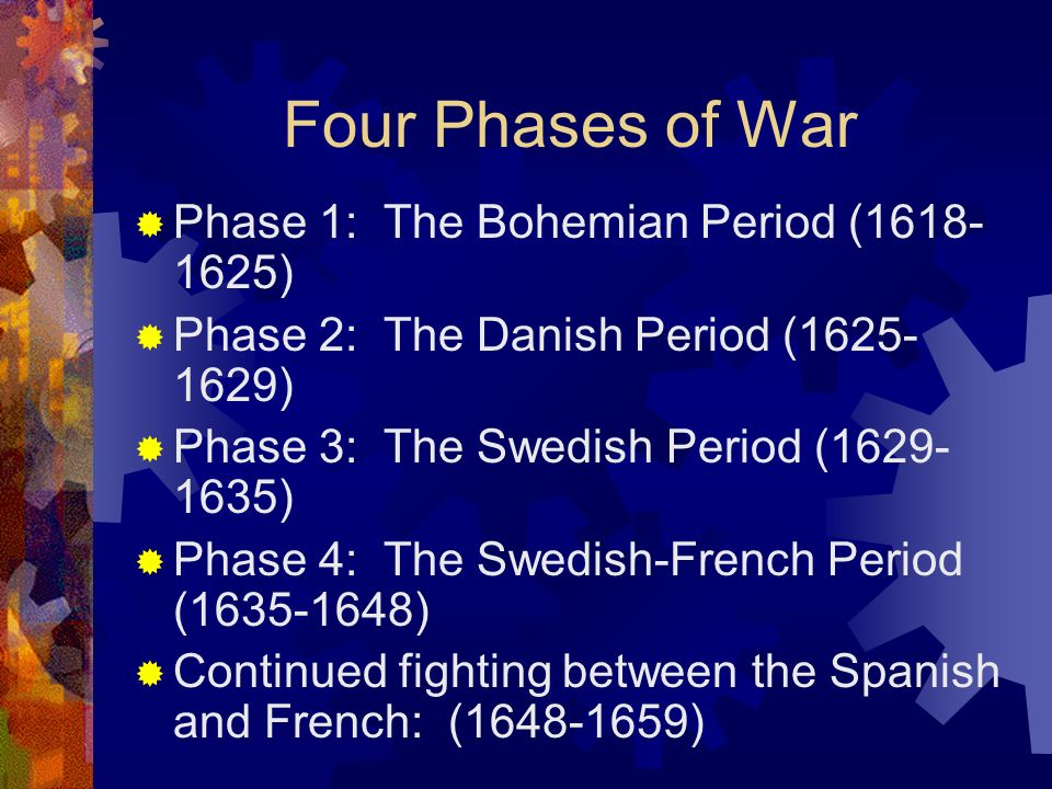 Four Phases of War Phase 1: The Bohemian Period (1618- 1625) Phase 2: The Danish Period (1625- 1629) Phase 3: The Swedish Period (1629- 1635) Phase 4: