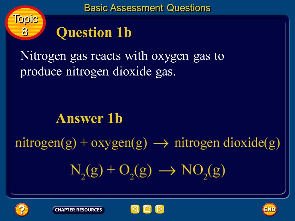 Basic Assessment Questions Solid lithium reacts with chlorine gas to produce solid lithium chloride. Answer 1a Question 1a Topic 8 Topic 8