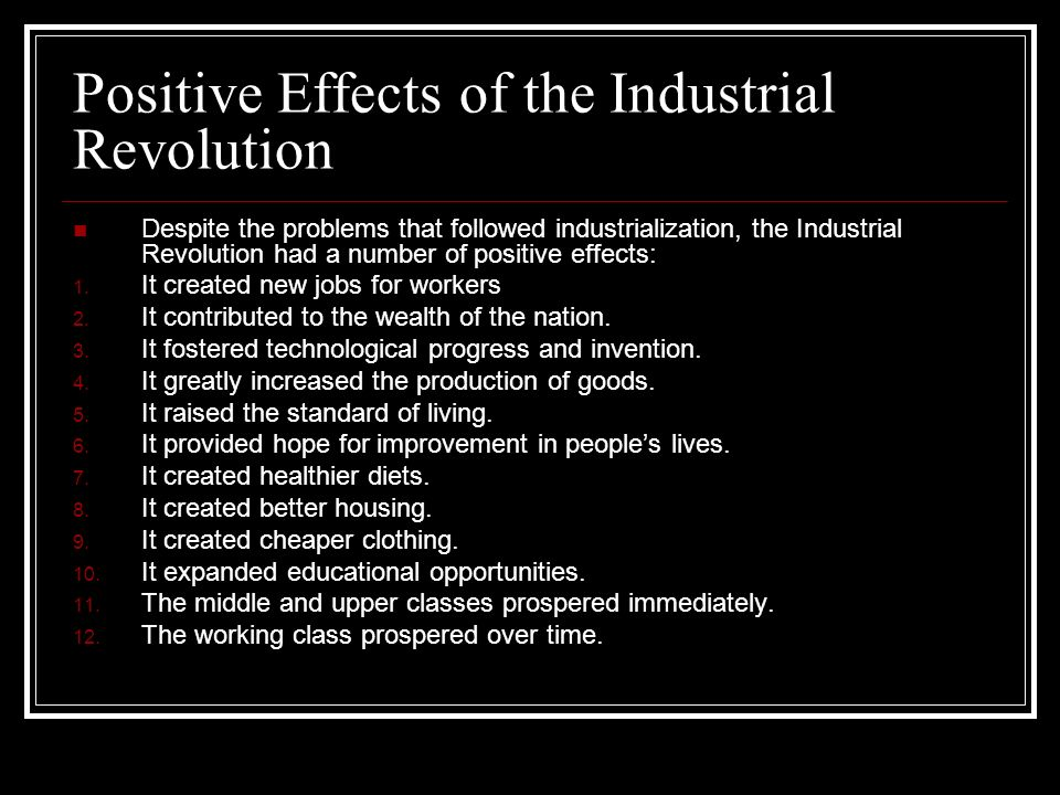 Positive effects of the industrial revolution essay # Research ...
