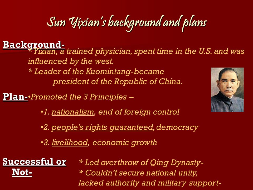 Sun Yixians background and plans Background-Plan- Successful or Not- * Yixian, a trained physician, spent time in the U.S.