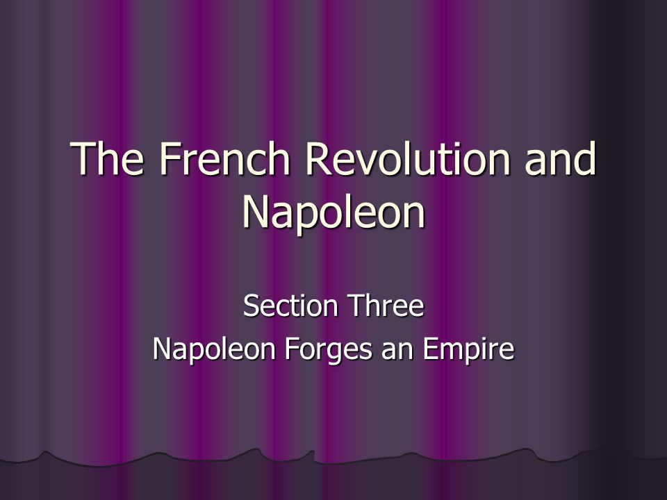 The French Revolution and Napoleon Section Three Napoleon Forges an Empire