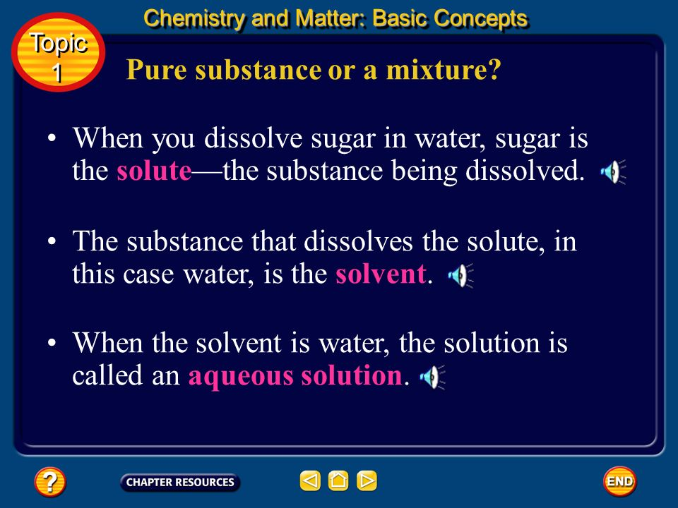 Homogeneous mixtures are the same throughout. Another name for a homogeneous mixture is solution. Topic 1 Topic 1 Chemistry and Matter: Basic Concepts