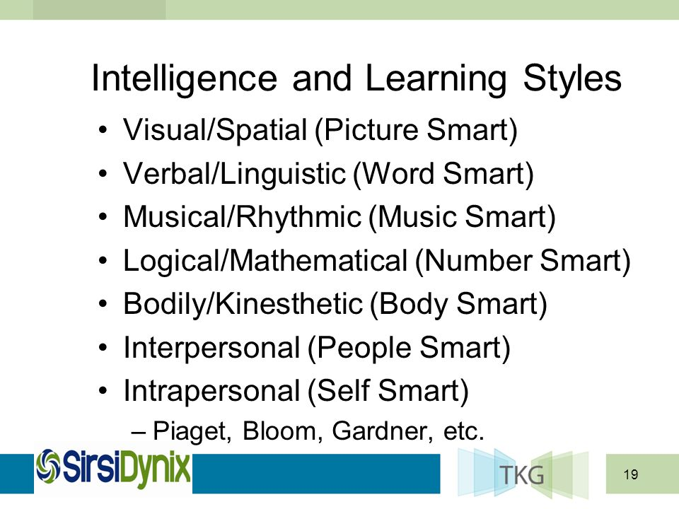 19 Intelligence and Learning Styles Visual/Spatial (Picture Smart) Verbal/Linguistic (Word Smart) Musical/Rhythmic (Music Smart) Logical/Mathematical