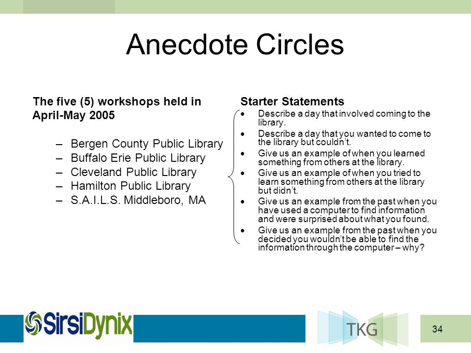 34 Anecdote Circles Starter Statements Describe a day that involved coming to the library. Describe a day that you wanted to come to the library but c