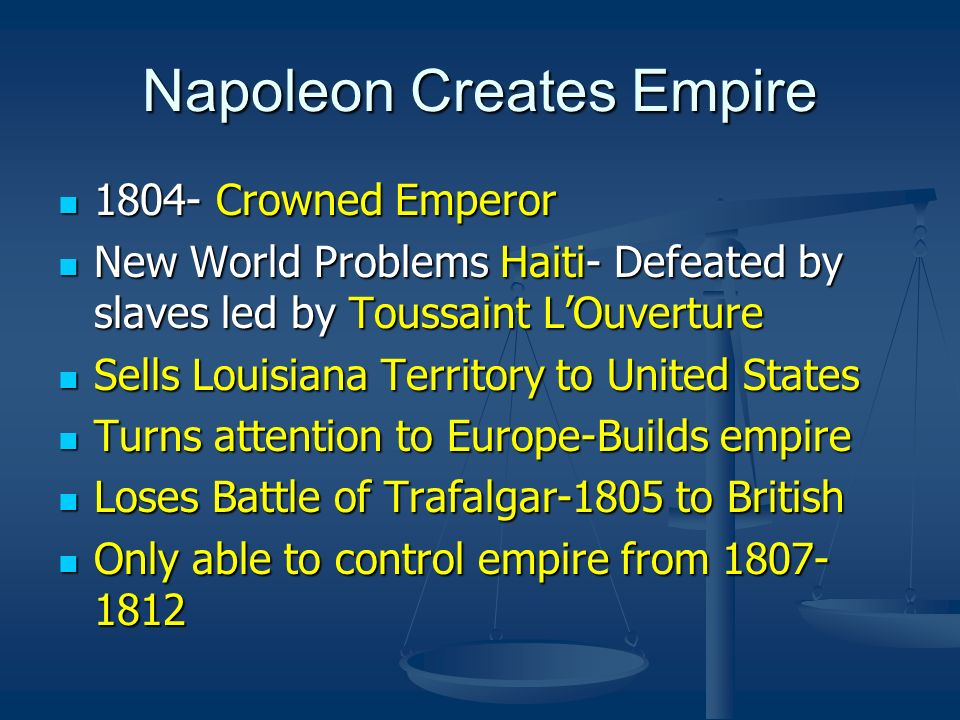 Napoleon Creates Empire 1804- Crowned Emperor 1804- Crowned Emperor New World Problems Haiti- Defeated by slaves led by Toussaint LOuverture New World