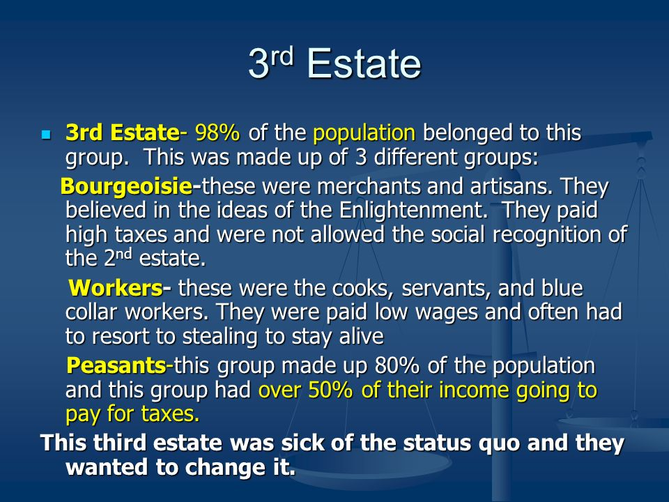 3 rd Estate 3rd Estate- 98% of the population belonged to this group. This was made up of 3 different groups: 3rd Estate- 98% of the population belong