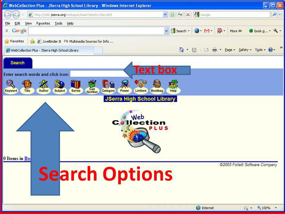 Search Options Text box