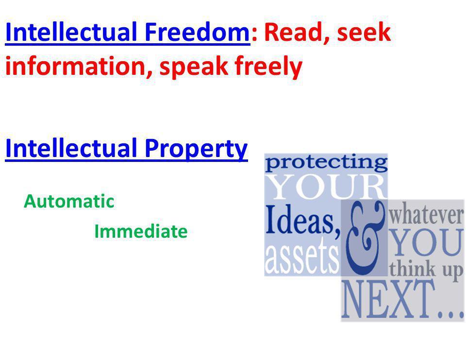 Intellectual FreedomIntellectual Freedom: Read, seek information, speak freely Intellectual Property Automatic Immediate