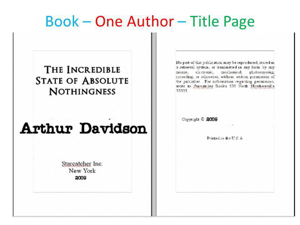Book – One Author – Title Page