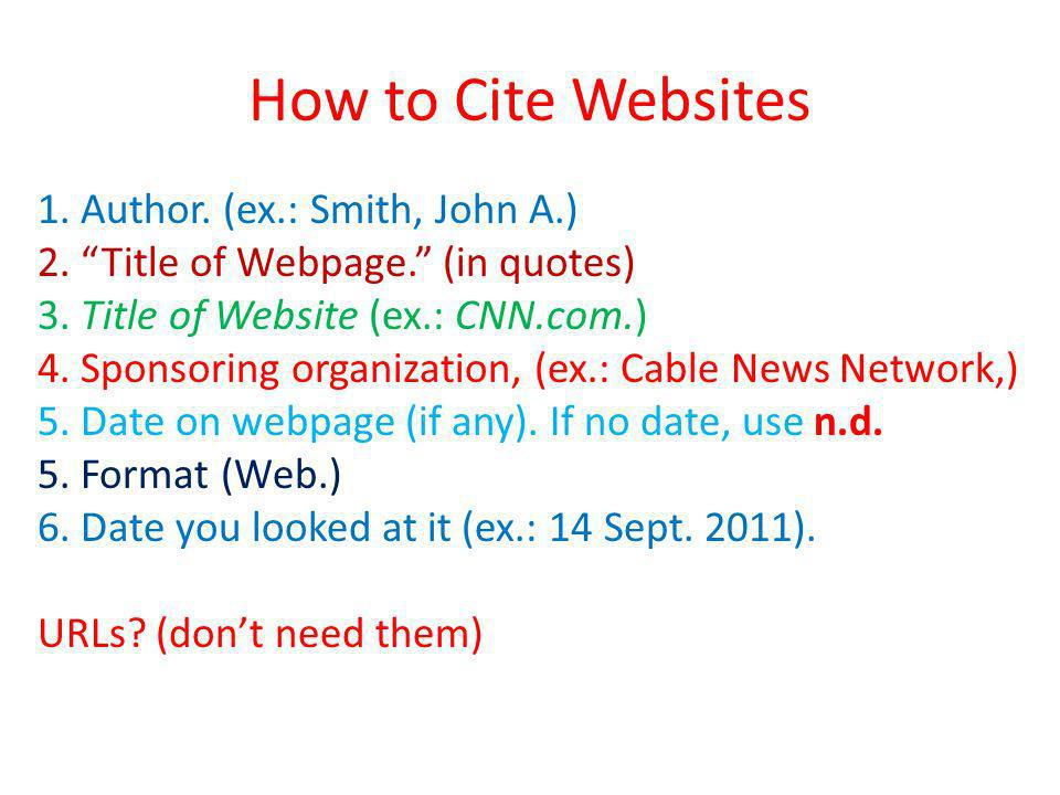 How to Cite Websites 1. Author. (ex.: Smith, John A.) 2. Title of Webpage. (in quotes) 3. Title of Website (ex.: CNN.com.) 4. Sponsoring organization,