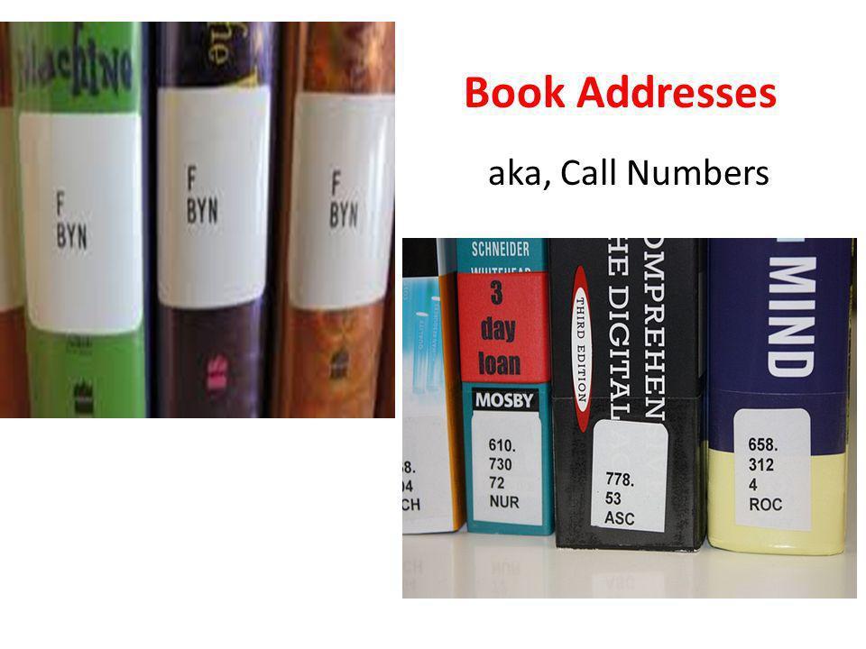 Book Addresses aka, Call Numbers