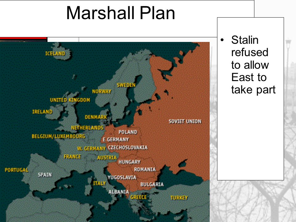 Marshall Plan [1948] 1.European Recovery Program. 2.Secretary of State, George Marshall 3.The U. S. should provide aid to all European nations that ne