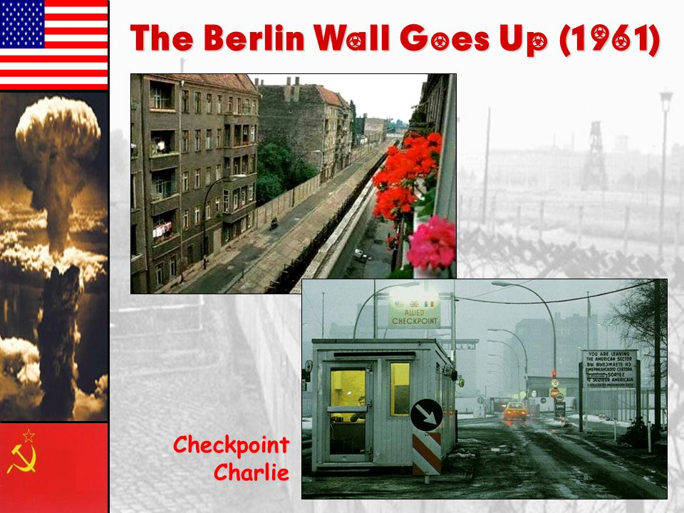 The Berlin Wall, 1961-1989 Built to stop the flow of refugees to the West Most visible symbol of the division of East and West Checkpoint Charlie 10,