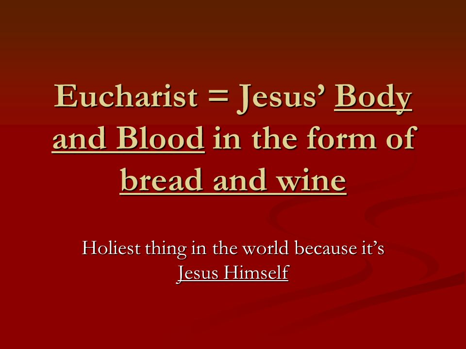 Mass is the place where the Eucharist becomes a reality Bread and wine are changed into Body and Blood of Jesus = Transubstantiation Lords Supper, Holy Sacrifice, Liturgy, Holy Communion, Mass