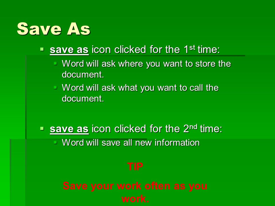 Save As save as icon clicked for the 1 st time: save as icon clicked for the 1 st time: Word will ask where you want to store the document.