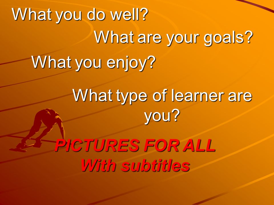 What you do well. What are your goals. What you enjoy.