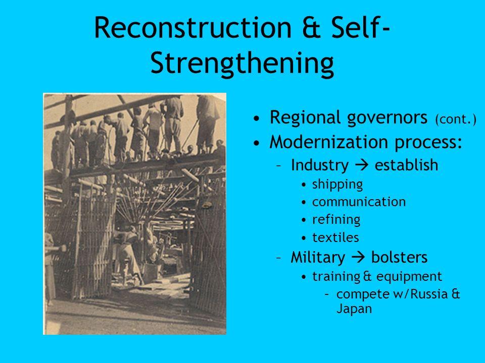 Reconstruction & Self- Strengthening Regional governors (cont.) Modernization process: –Industry establish shipping communication refining textiles –M