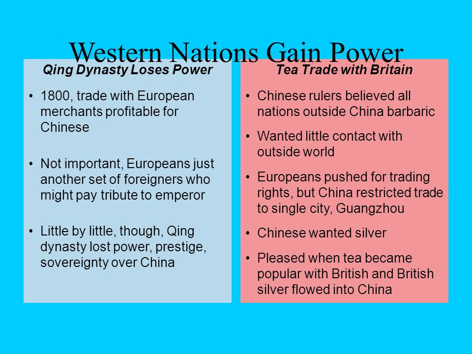 Chinese rulers believed all nations outside China barbaric Wanted little contact with outside world Europeans pushed for trading rights, but China res