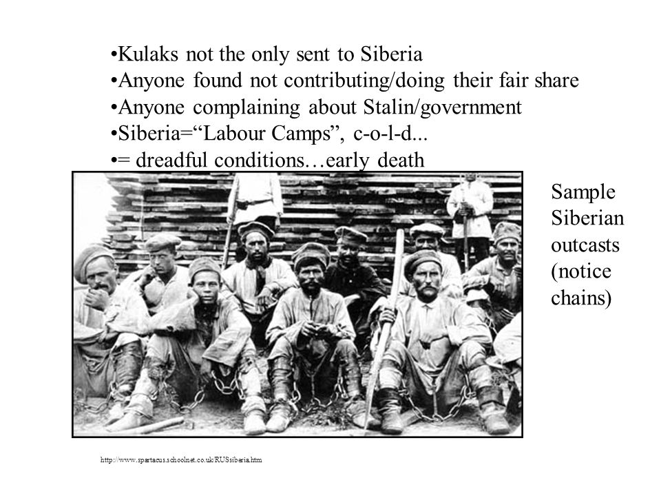 Kulaks not the only sent to Siberia Anyone found not contributing/doing their fair share Anyone complaining about Stalin/government Siberia=Labour Camps, c-o-l-d...