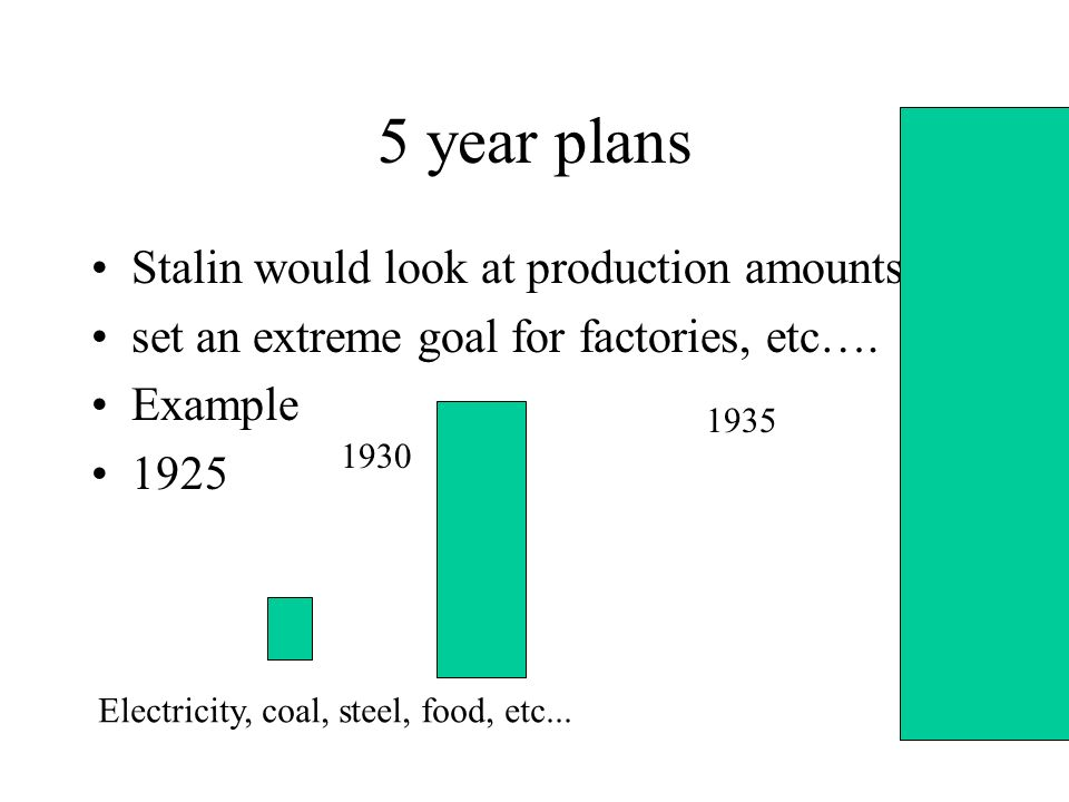 5 year plans Stalin would look at production amounts set an extreme goal for factories, etc….