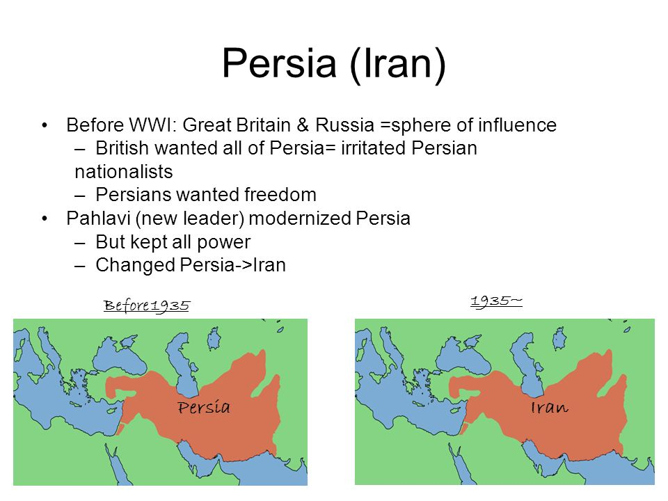Persia (Iran) Before WWI: Great Britain & Russia =sphere of influence –British wanted all of Persia= irritated Persian nationalists –Persians wanted f