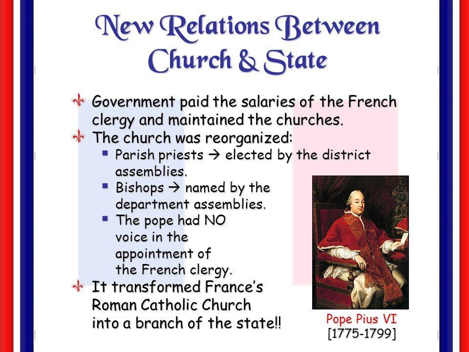 The Civil Constitution of the Clergy July 12, 1790 Church officialsChurch officials and Priests paid by the State Significance?Peasants?