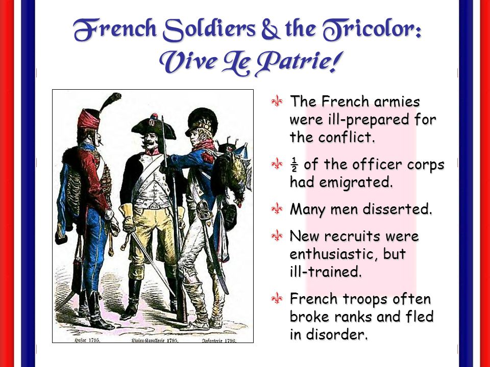 War! FRANCE 1792- 1797 AUSTRIA PRUSSIA BRITAIN SPAIN PIEDMONT Wanted the king restored-Wanted the king restored- Worried that Rev. would spread to the