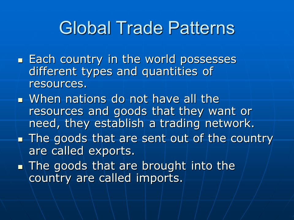 Global Trade Patterns Each country in the world possesses different types and quantities of resources. Each country in the world possesses different t