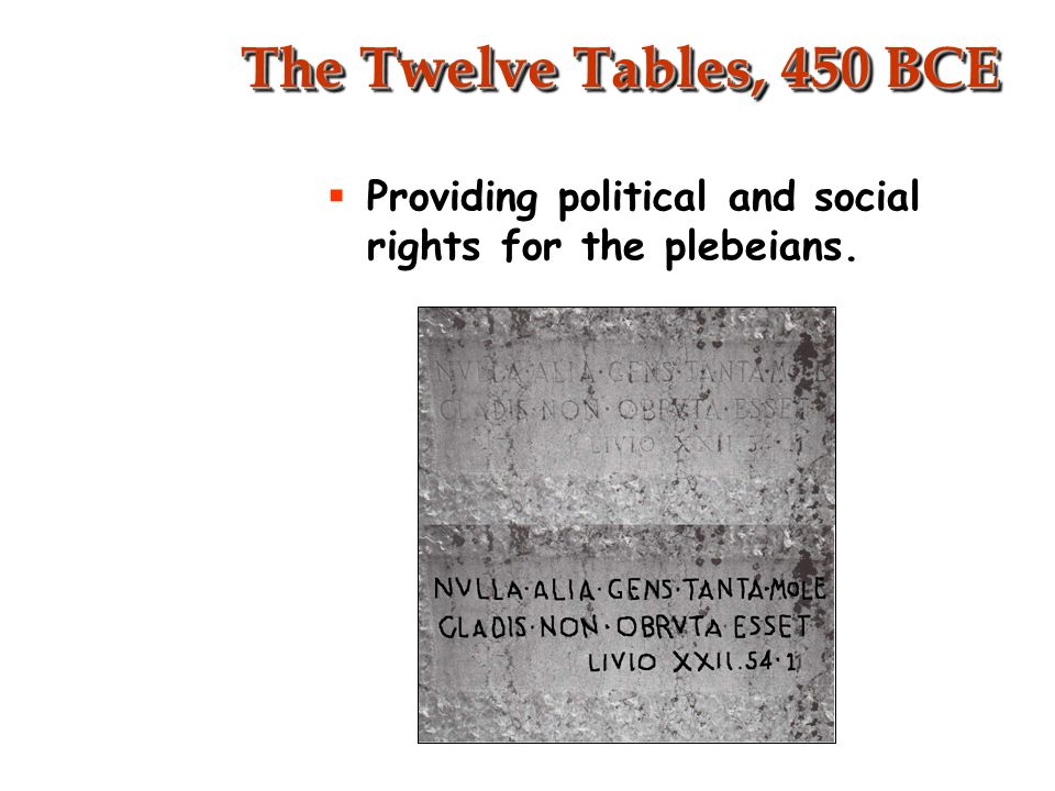 Roman Law Twelve Tables step toward fair government Complied into Justinian Code government of laws not men