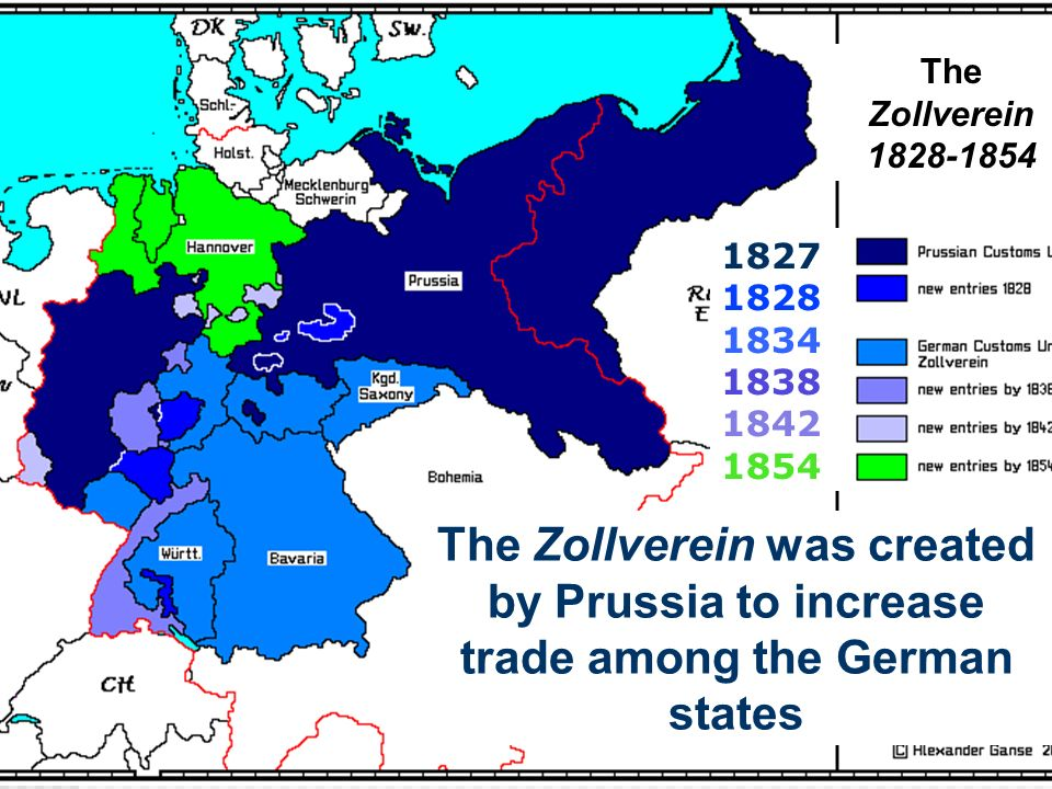 1827 1828 1834 1838 1842 1854 The Zollverein was created by Prussia to increase trade among the German states The Zollverein 1828-1854