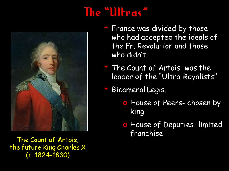 The Ultras 4 France was divided by those who had accepted the ideals of the Fr. Revolution and those who didnt. 4 The Count of Artois was the leader o