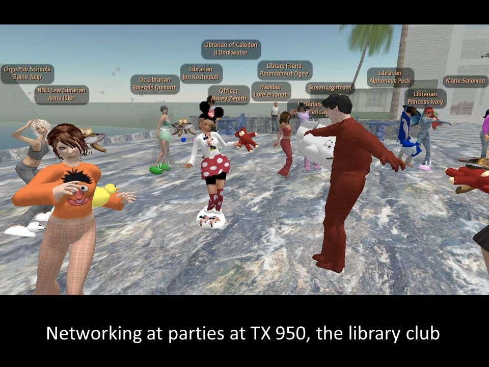 Networking at parties at TX 950, the library club