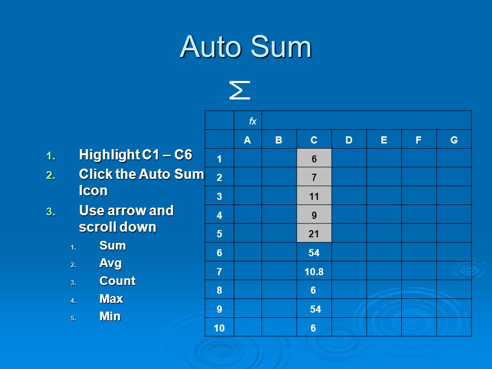 Auto Sum 1. Highlight C1 – C6 2. Click the Auto Sum Icon 3. Use arrow and scroll down 1. Sum 2. Avg 3. Count 4. Max 5. Min fx ABCDEFG 1 6 2 7 3 11 4 9