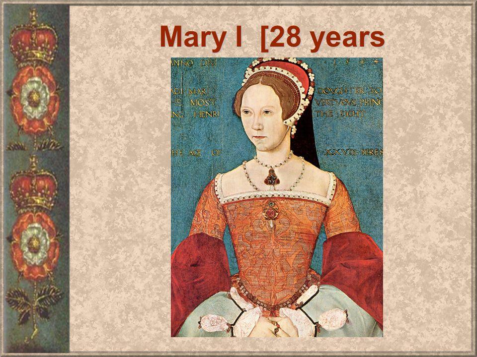 BLOODY MARY I (TUDOR) RETURNS ENGLAND TO CATHOLICISM.