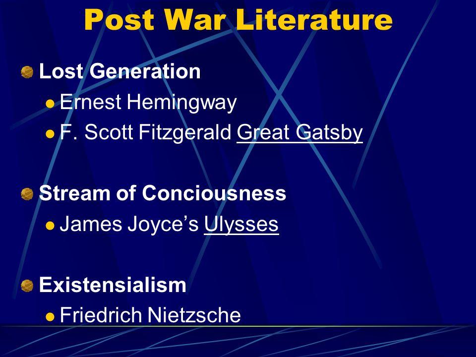 Post War Literature Lost Generation Ernest Hemingway F.