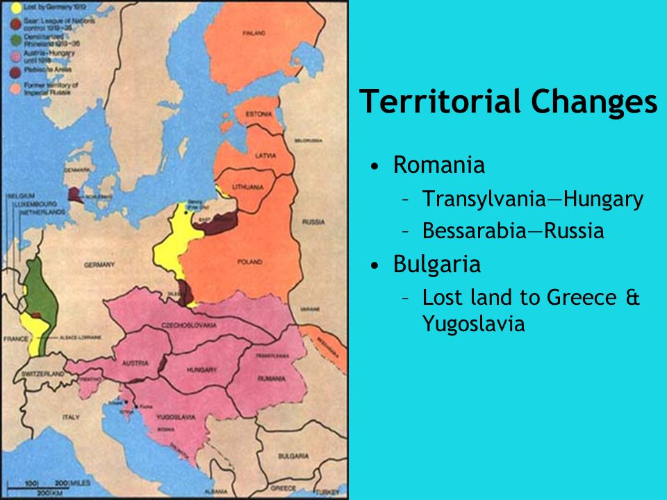 Territorial Changes Romania –TransylvaniaHungary –BessarabiaRussia Bulgaria –Lost land to Greece & Yugoslavia