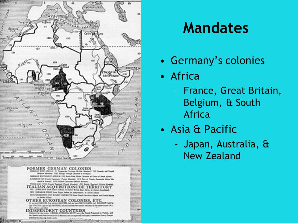 Germanys colonies Africa –France, Great Britain, Belgium, & South Africa Asia & Pacific –Japan, Australia, & New Zealand Mandates