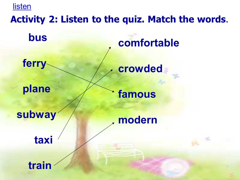 Activity 2: Listen to the quiz. Match the words. bus ferry plane subway taxi train comfortable crowded famous modern listen