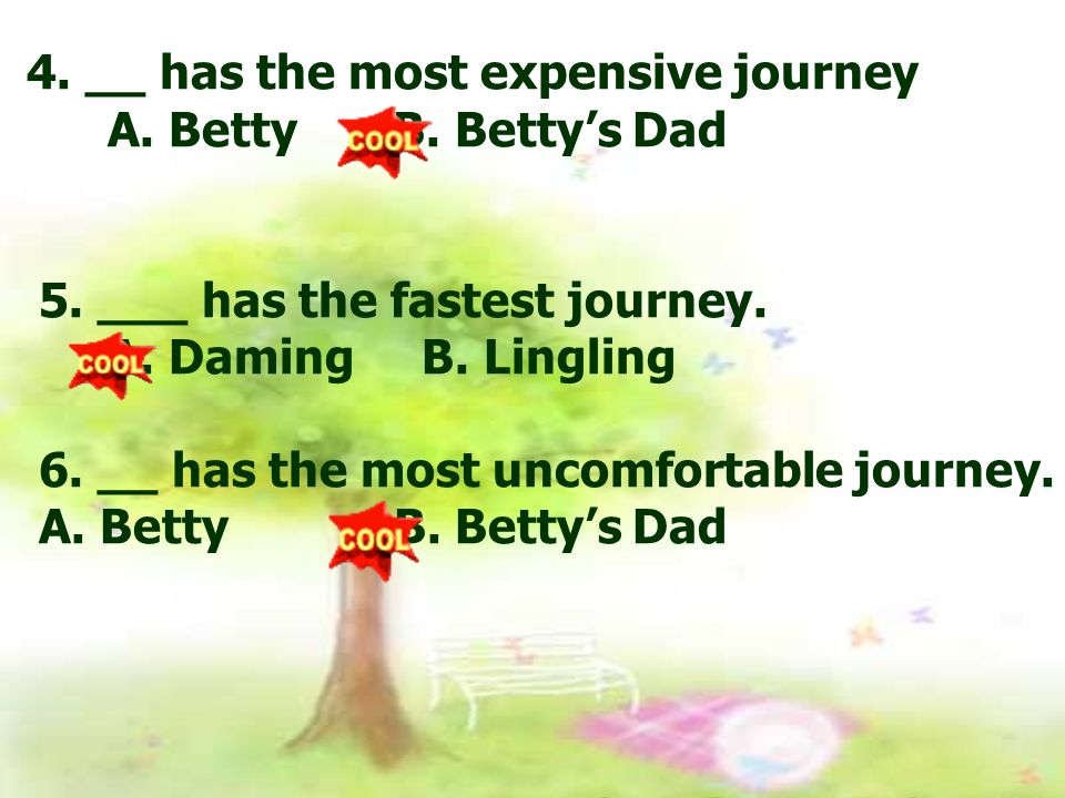 4. __ has the most expensive journey A. Betty B.