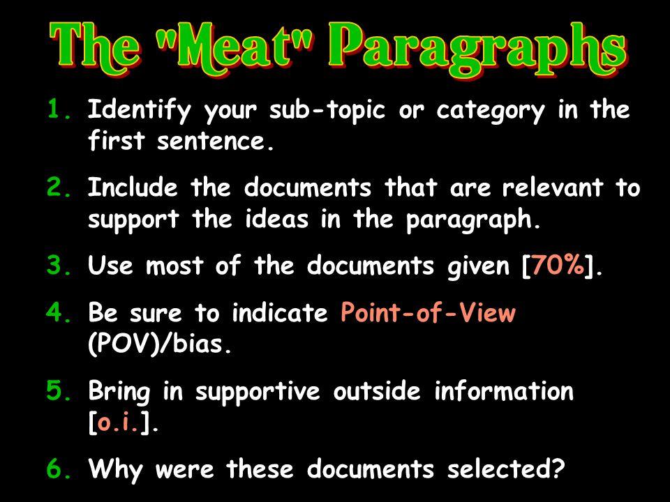 The tasty part of your essay! 8-12 sentences+ per paragraph