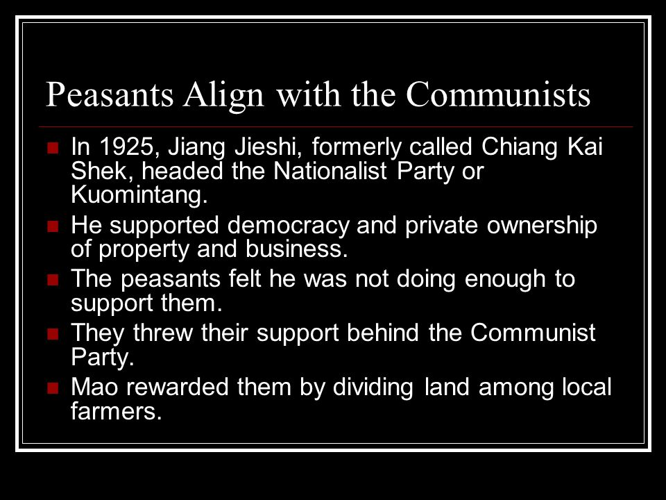 Nationalists and Communists Clash At first the Nationalists and Communists worked together to fight the warlords.